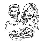 Happy Couple And Newborn Baby Drawing