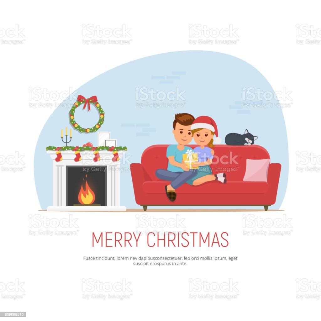 クリスマスを祝う幸せなカップル女の子は男性にクリスマス プレゼント