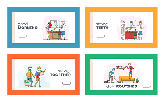Happy Couple Characters Everyday Routine Matters Landing Page Template Set. Man and Woman Shopping at Grocery, Brushing Teeth in Bathroom, Cleaning Home Together. Linear People Vector Illustration