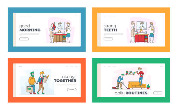 Happy Couple Characters Everyday Routine Matters Landing Page Template Set. Man and Woman Shopping at Grocery Together Happy Couple Characters Everyday Routine Matters Landing Page Template Set. Man and Woman Shopping at Grocery, Brushing Teeth in Bathroom, Cleaning Home Together. Linear People Vector Illustration active lifestyle stock illustrations