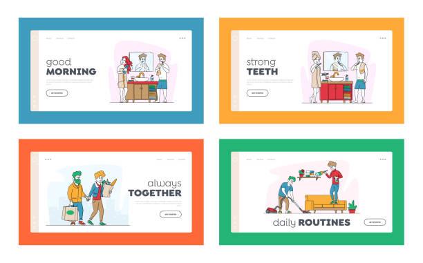 illustrazioni stock, clip art, cartoni animati e icone di tendenza di happy couple characters everyday routine matters landing page template set. uomo e donna che fanno la spesa insieme alla drogheria - grocery home