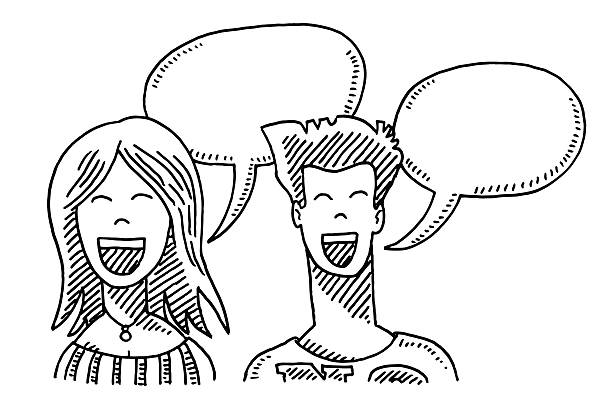 Happy Couple Communication Drawing Hand-drawn vector drawing of a Happy Couple with Communication Speech Bubbles. Black-and-White sketch on a transparent background (.eps-file). Included files are EPS (v10) and Hi-Res JPG. women stock illustrations