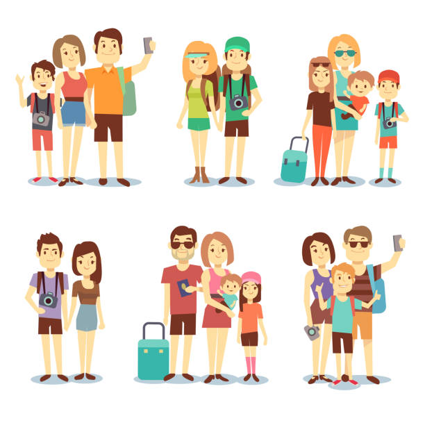 ilustraciones, imágenes clip art, dibujos animados e iconos de stock de happy couple, family, people, tourists vector travelling cartoon characters - viajes familiares