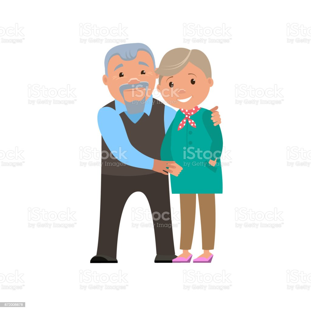 Happy couple  grandparents smile. Vector cartoon illustration. vector art illustration