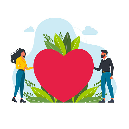 Happy couple holding heart together. Relationship and love concept for banner, website design or landing web page. couple in love look at each other. Vector illustration