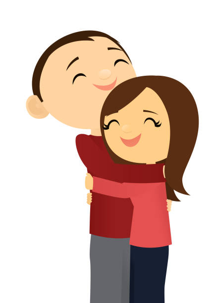 Happy couple hugging vector art illustration