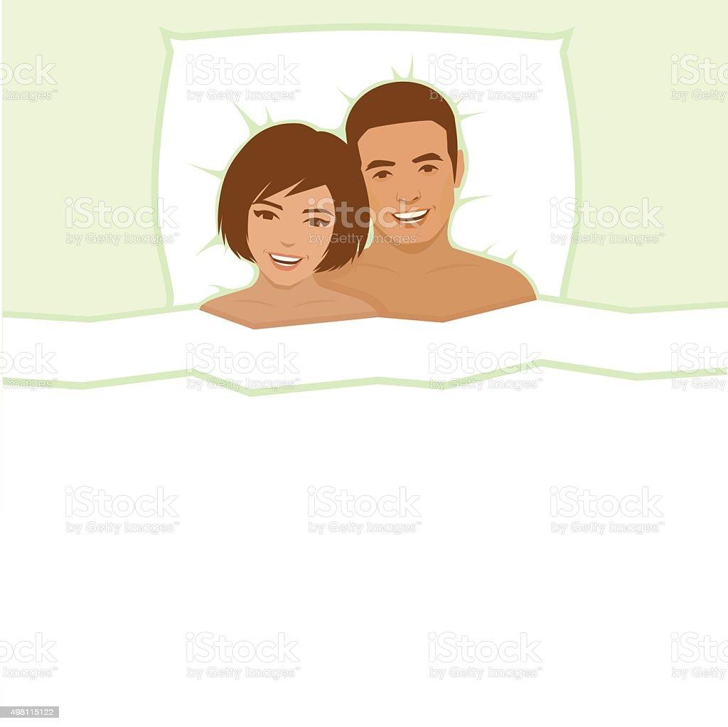 幸せなカップルのベッド のイラスト素材 498115122   istock