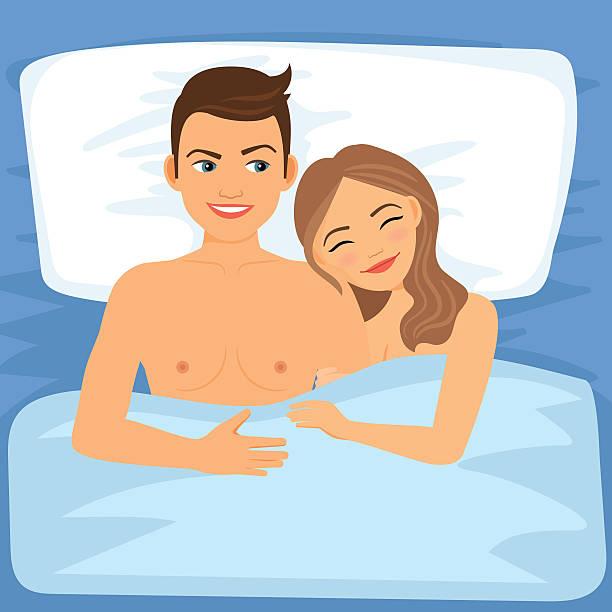 bildbanksillustrationer, clip art samt tecknat material och ikoner med happy couple in bed - young couple