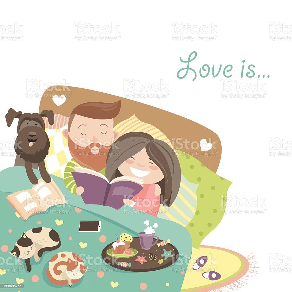幸せなカップルのベッドで猫と犬 - 2人のベクターアート素材や画像を多数