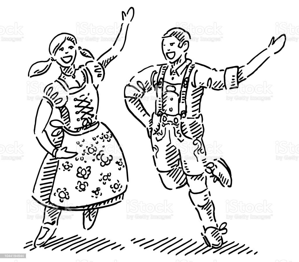 Happy Couple In Dirndl And Lederhosen Drawing Stock Illustration Download Image Now Istock