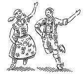 Happy Couple In Dirndl And Lederhosen Drawing
