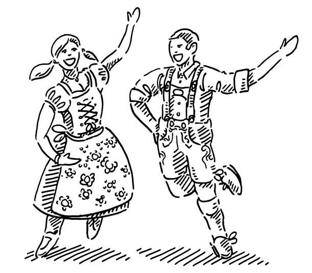 Happy Couple In Dirndl And Lederhosen Drawing Hand-drawn vector drawing of a Happy Couple In traditional Dirndl And Lederhosen at the Oktoberfest. Black-and-White sketch on a transparent background (.eps-file). Included files are EPS (v10) and Hi-Res JPG. oktoberfest stock illustrations