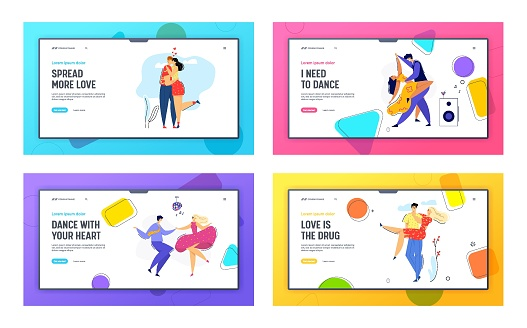 Happy Couple in Love Landing Page. Man Kissing his Girlfriend. Woman Hugs Boyfriend. Romantic Dating Concept with Lovers Characters Dancing Disco Web Banner. Vector flat illustration