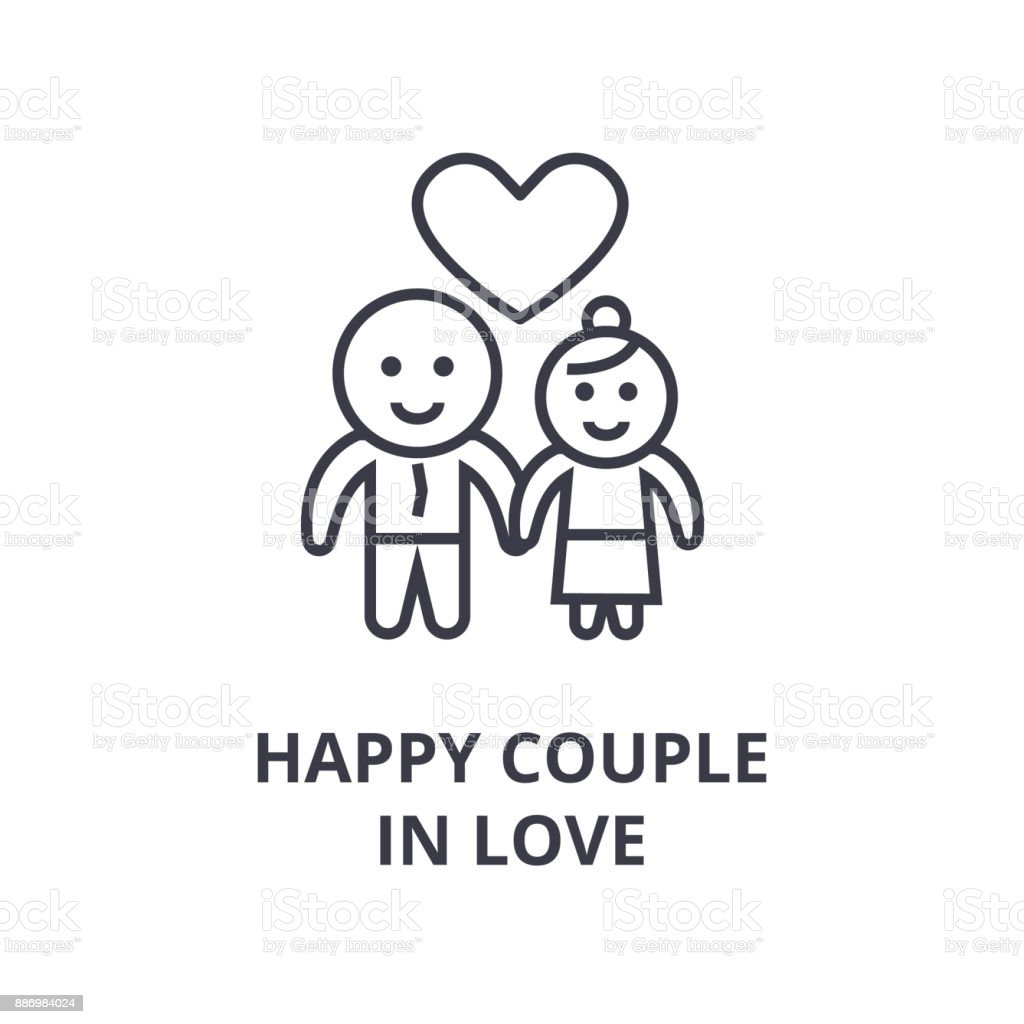 happy couple in love line icon, outline sign, linear symbol, vector, flat illustration vector art illustration
