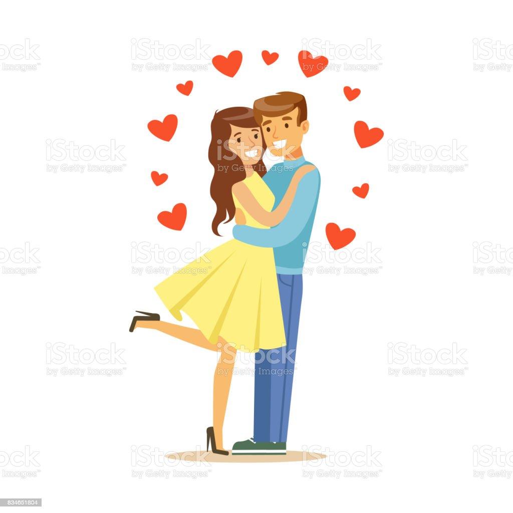 愛男と女が抱き合ってで幸せなカップルはロマンチックな日付のカラフルな