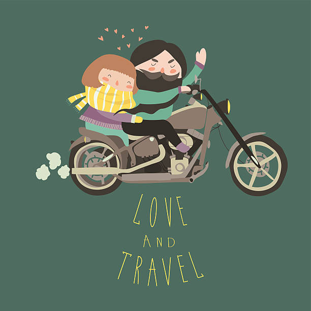 Happy couple in love riding a motorcycle vector art illustration