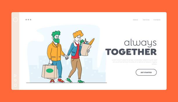 illustrazioni stock, clip art, cartoni animati e icone di tendenza di coppia felice che si trasferisce dal negozio di alimentari o dal modello di pagina di destinazione del supermercato. clienti uomo e donna con borse della spesa - grocery home