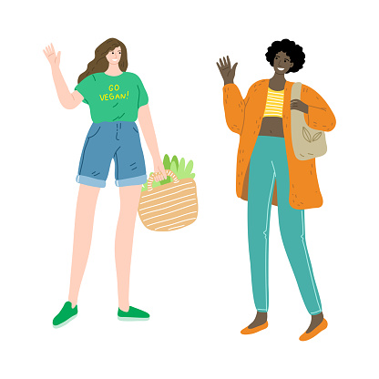 Happy couple of vegetarian girls are standing with a bag of fresh vegetarian food. Vector illustration in cartoon style.