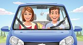 Illustration of a happy young couple in a blue car driving in the countryside. In the background are trees and hills and a blue, cloudy sky.
