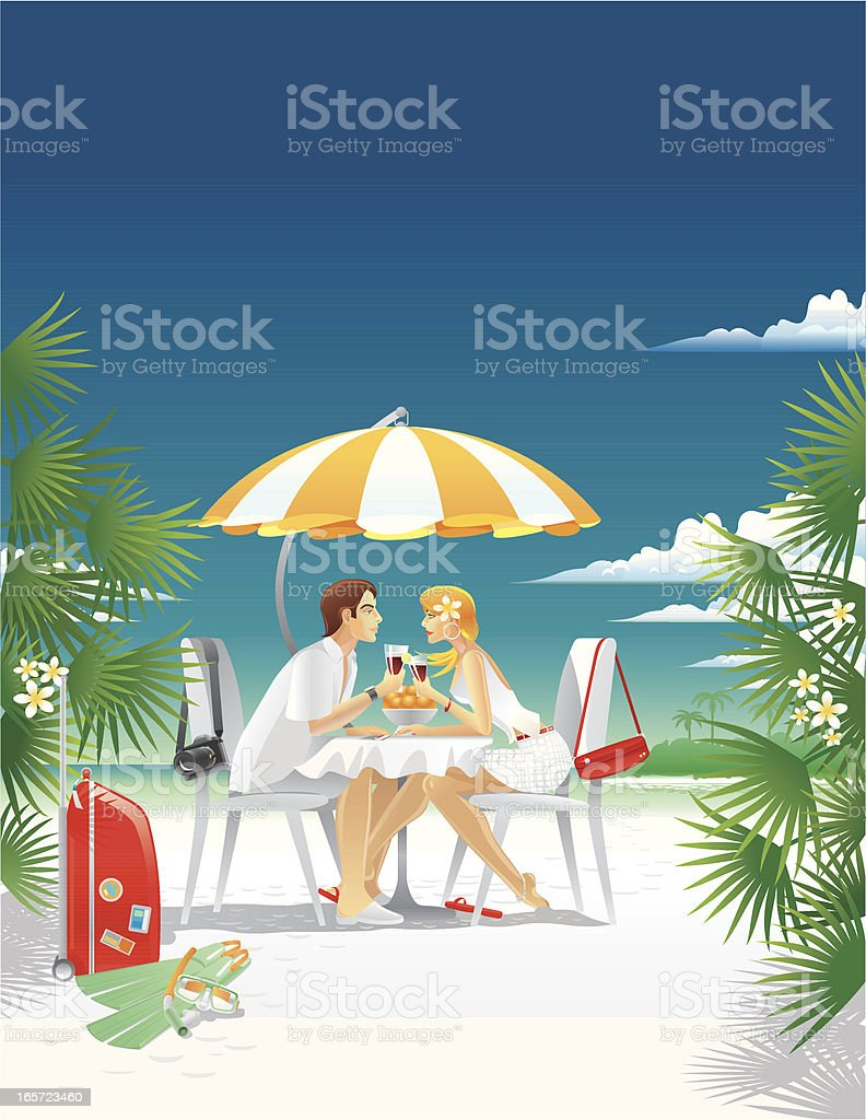 Happy Couple on an Island vector art illustration