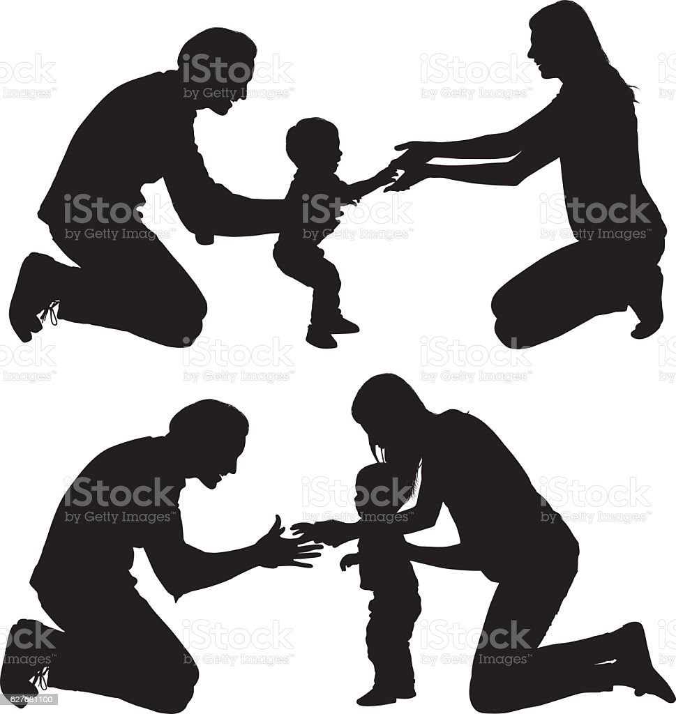 Happy couple playing with their baby vector art illustration