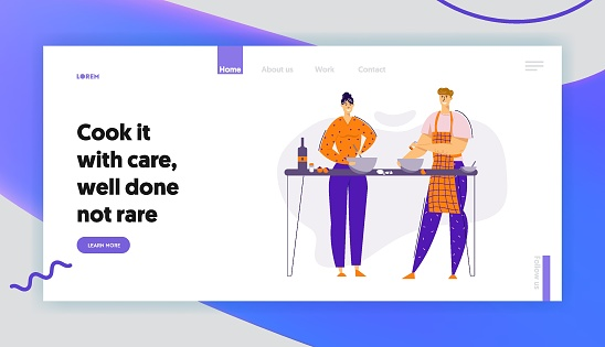 Happy Couple Preparing Food Together in the Kitchen Landing Page. Man and Woman Characters Cooking at Home. Family Relationships Website Banner. Vector flat cartoon illustration