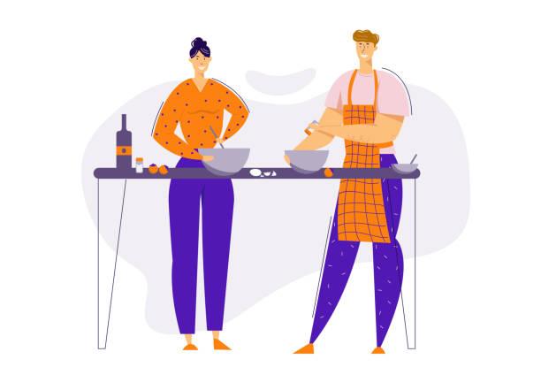 台所で一緒に食べ物を準備幸せなカップル。家庭で調理する男性と女性のキャラクター。家族関係。ベクトルフラット漫画のイラスト - 妻点のイラスト素材/クリップアート素材/マンガ素材/アイコン素材