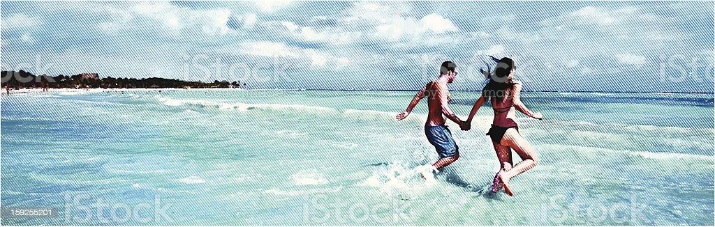Happy Couple Running On The Beach vector art illustration