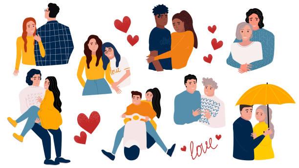 Happy couple set.  Vector romantic illustration. Happy couple set.  Vector romantic illustration. Valentine's Day concept. boyfriend stock illustrations