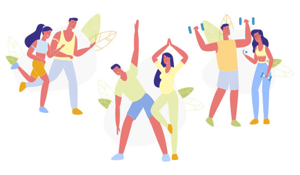 Happy Couple Sports Activity Set Healthy Lifestyle Happy Couple Sports Activity Set Isolated on White Background. Young Loving Man and Woman Doing Exercises with Dumbbells, Jogging, Doing Yoga Asana, Healthy Lifestyle. Cartoon Flat Vector Illustration active lifestyle stock illustrations