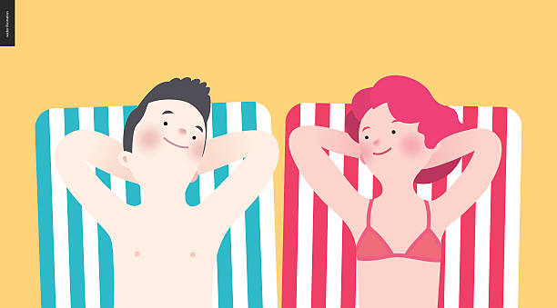 Happy couple sunbathing on the beach vector art illustration