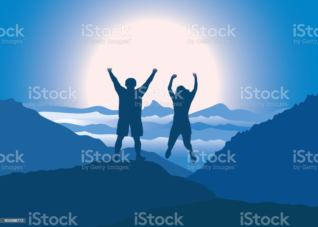 Happy couple with hands up jumping on the top of mountain. vector art illustration