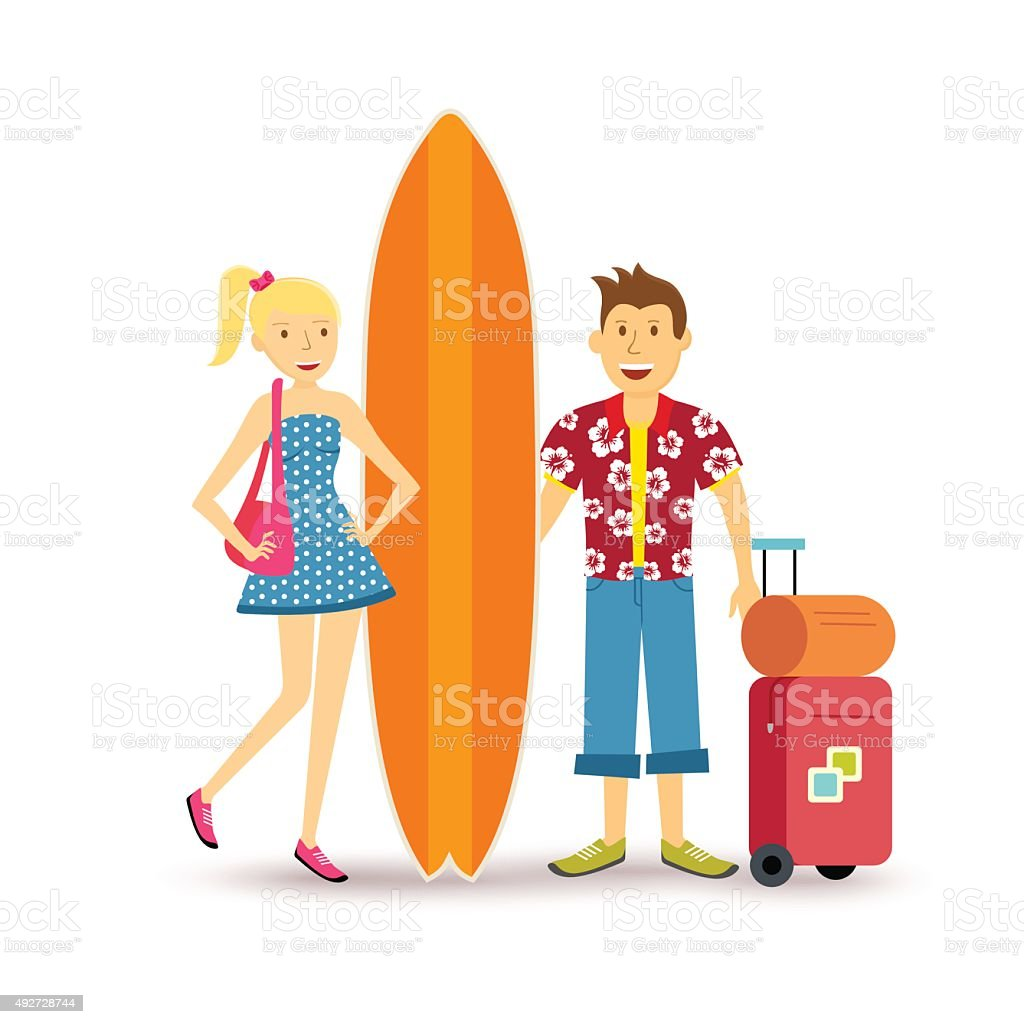 Happy couple young surf holiday summer travel vector art illustration