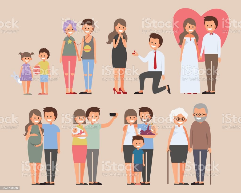 Happy couples in love story vector illustration. Little boy and girl, teenagers listening music together, guy makes  proposal, wedding, pregnancy, family selfie with baby, old couple vector art illustration