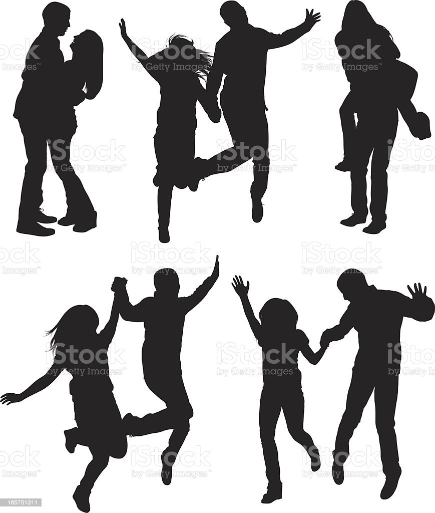 Happy couples running and jumping frolicking about vector art illustration