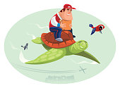happy courier riding on flying turtle