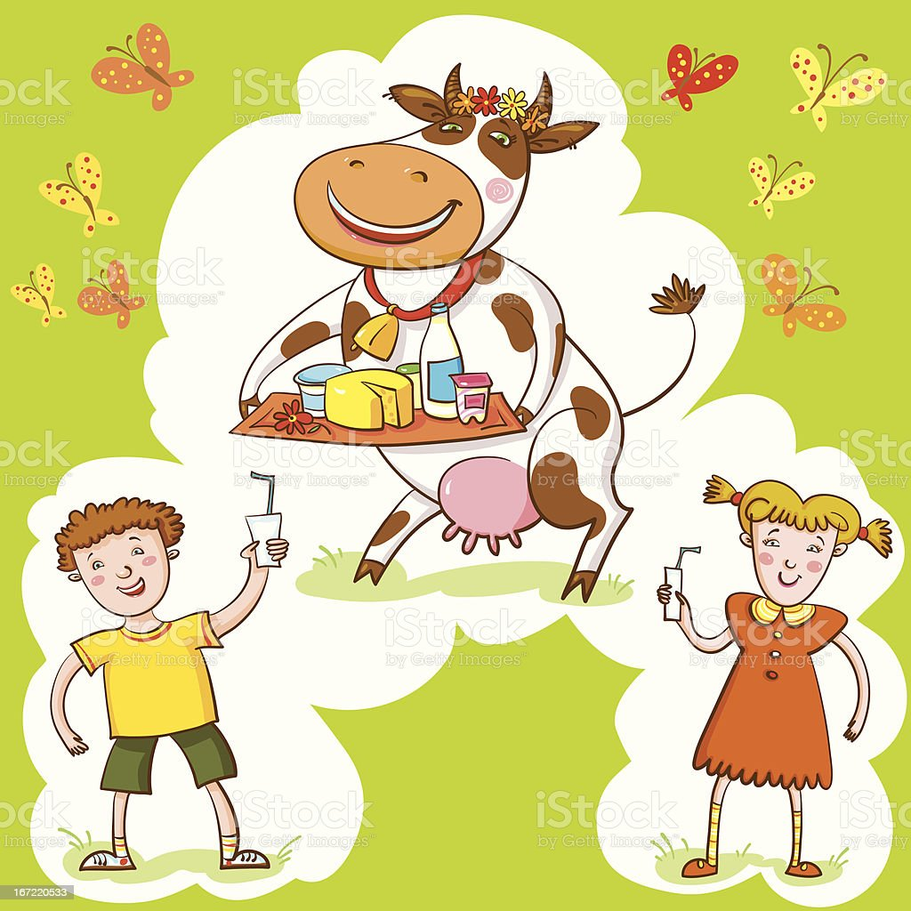 Happy Cow And Kids. royalty-free happy cow and kids stock vector art & more images of agriculture