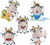 Happy cow .Clip-Art Cartoon
