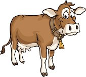 Vector Illustration of a happy cow standing with collar and cow bell around neck. Collar and cowbell on a separate layer.
