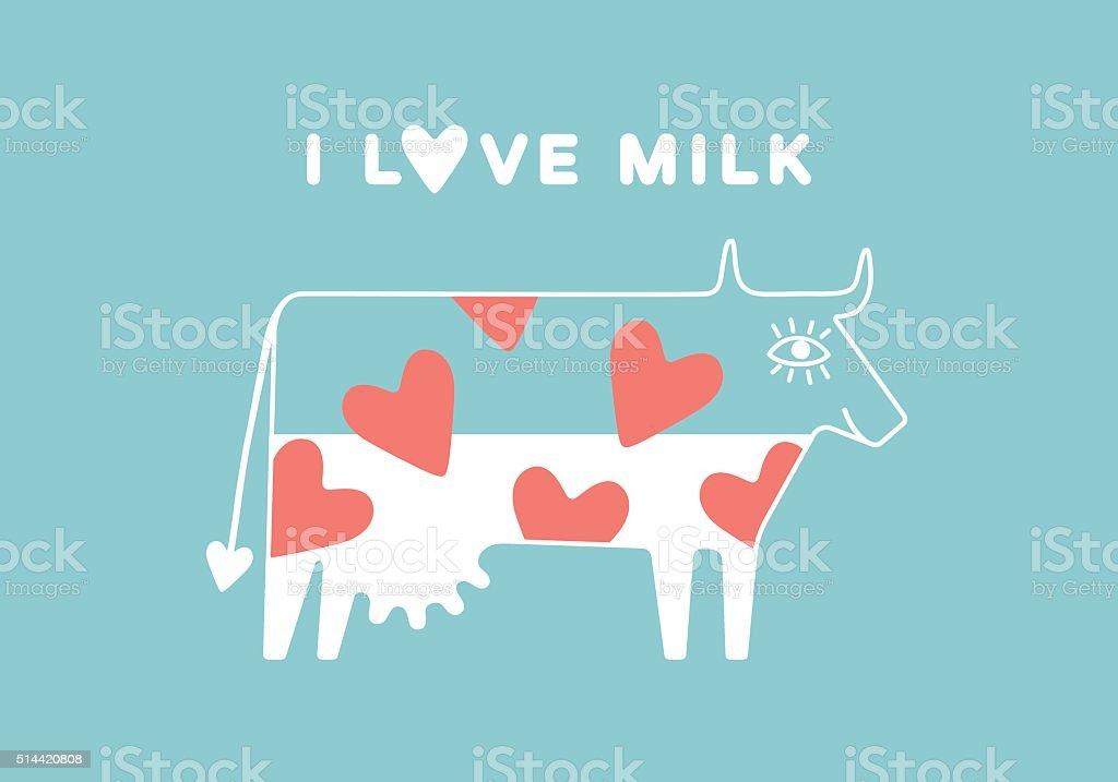 Ilustración de Feliz Vaca Con Ubre Y Rojo Corazón Completo De Leche ...