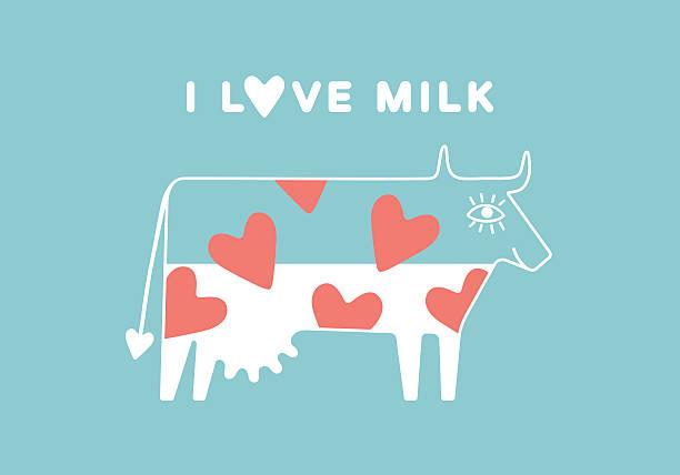 glücklich kuh mit euter und rotes herz mit milch - lustige kuh bilder stock-grafiken, -clipart, -cartoons und -symbole