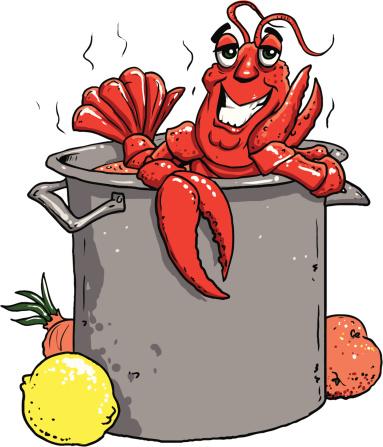 Happy Crawfish in a Big Pot