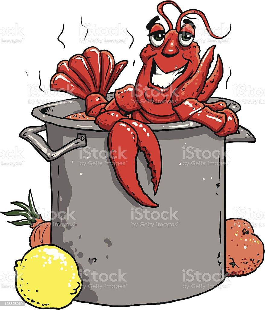 Happy Crawfish in a Big Pot vector art illustration