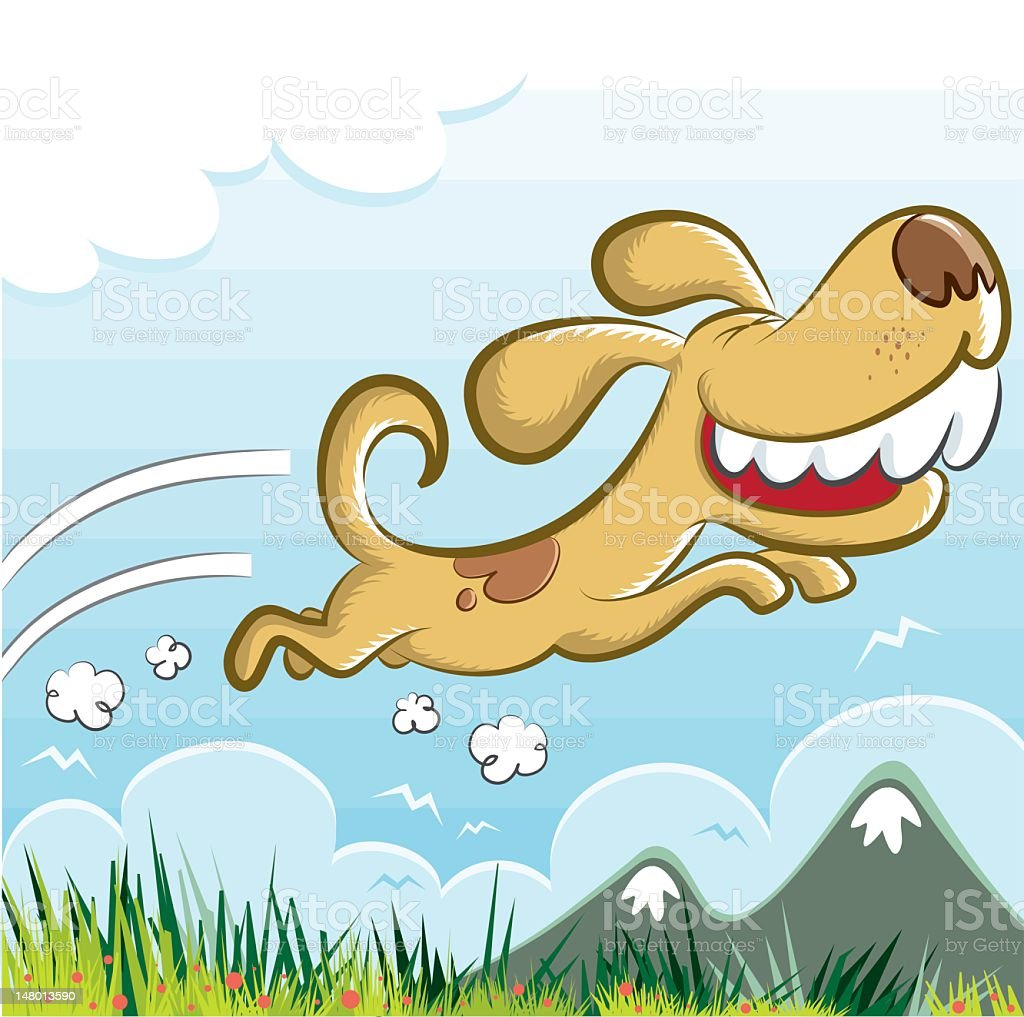 happy crazy dog running to the nature royalty-free stock vector art