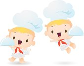 Vector illustration - Happy Cupid Chef Carrying A Covered Dinner Plate.