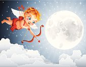 Happy Cupid flying over the clouds. High Resolution JPG,CS5 AI and Illustrator EPS 10 (with transparency effects) included. Each element is named,grouped and layered separately.