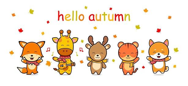happy cute animal in autumn banner icon cartoon illustration