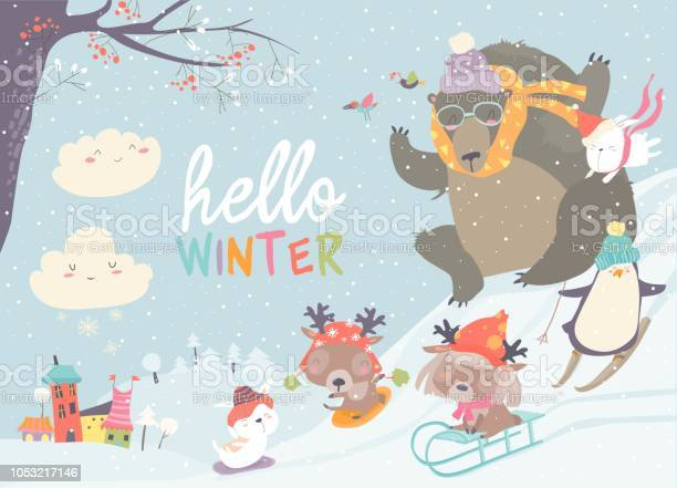 Happy cute animals playing winter games hello winter vector id1053217146?b=1&k=6&m=1053217146&s=612x612&h=a3a494ol5envli1bjzr3qbzp0rnayqeznfiasgfkfuw=