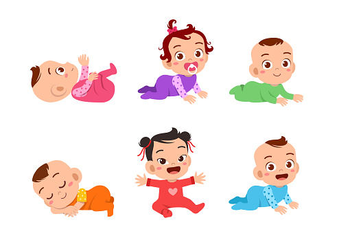 happy cute baby set bundle vector