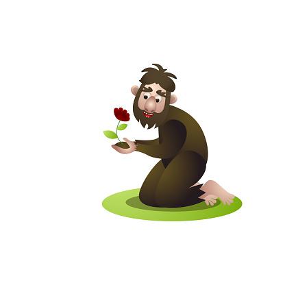 Happy cute bigfoot, yeti finding a cute red flower